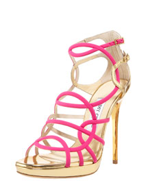 Jimmy Choo Strappy Jersey & Metallic Sandal