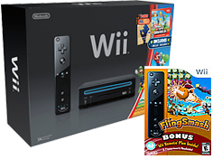 Wii console package and games