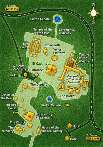 Map of Chichen Itza
