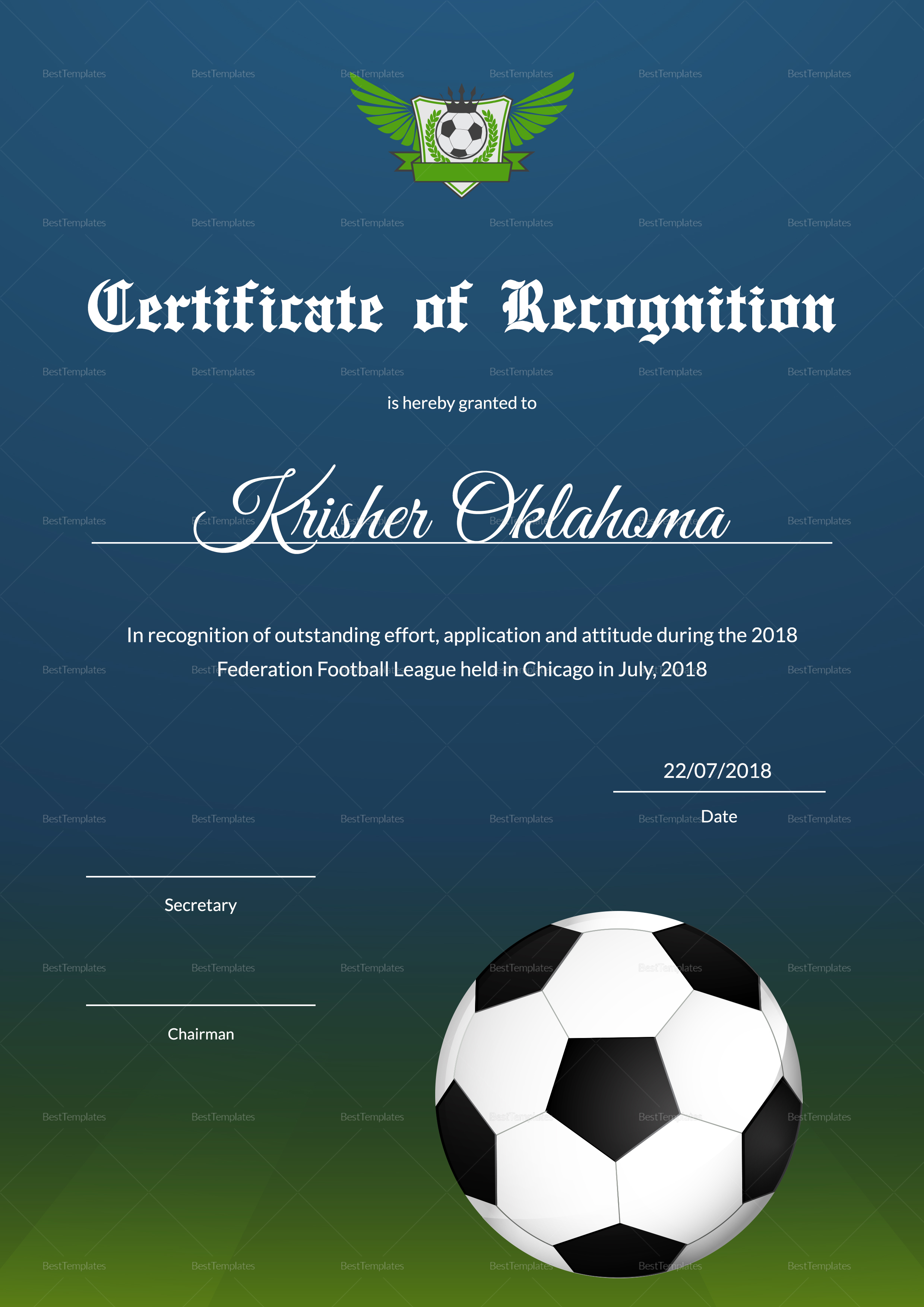 Federation Football League Recognition Certificate Design