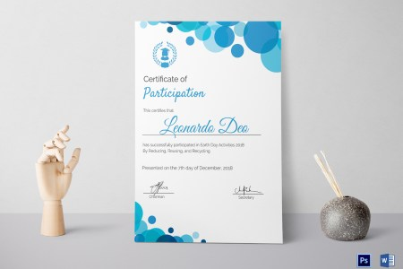 Modern Blue Frame Participation Certificate Design Template in PSD  Word Modern Blue Frame Participation Certificate  Modern Blue Frame  Participation Certificate Template