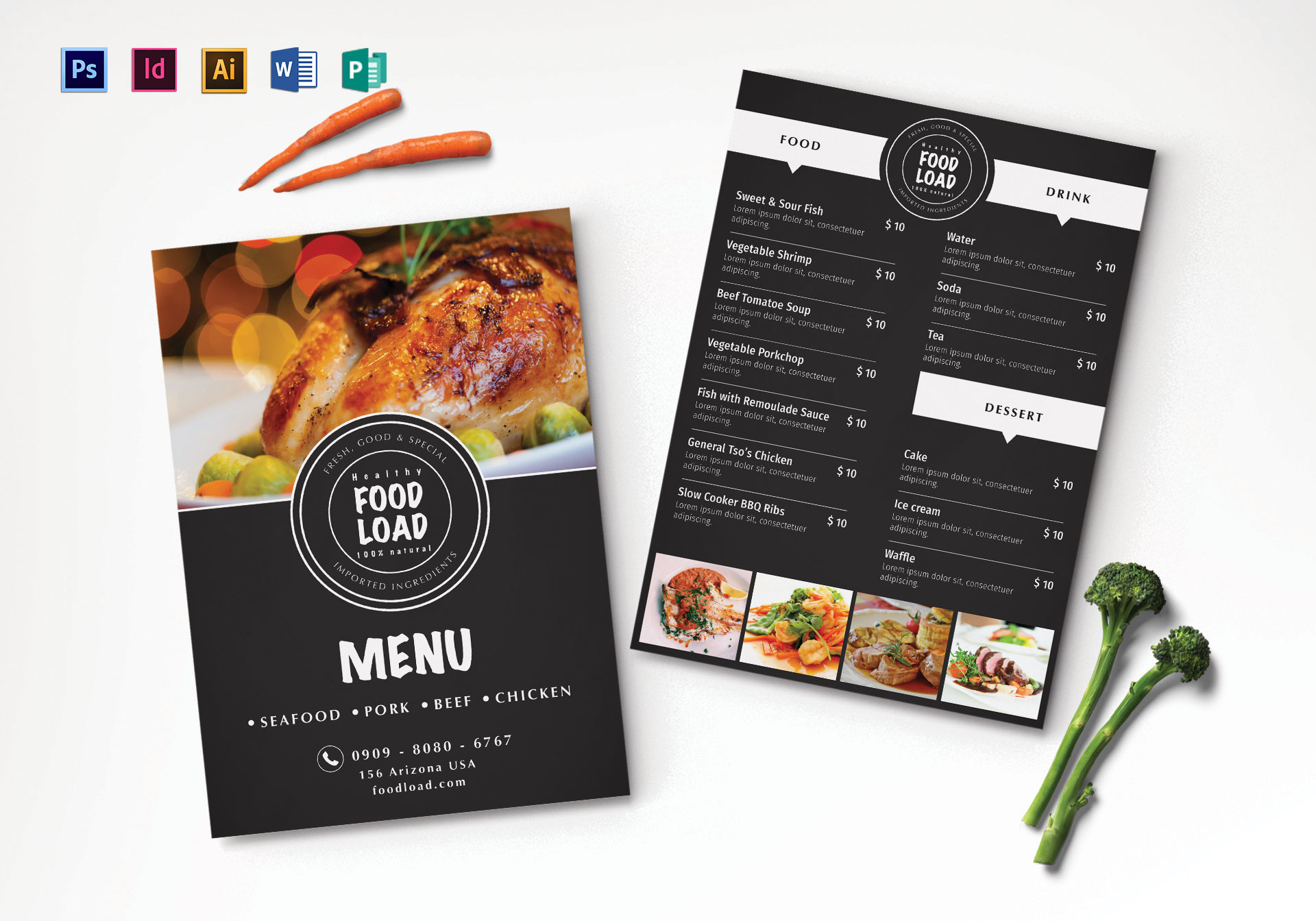 Dinner Party Menu Design Template In Psd Illustrator