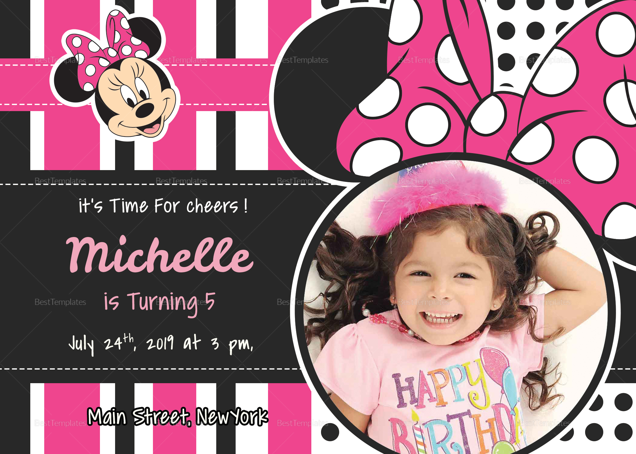 Sparkling Minnie Mouse Birthday Invitation Card Design Template In Psd Word Publisher