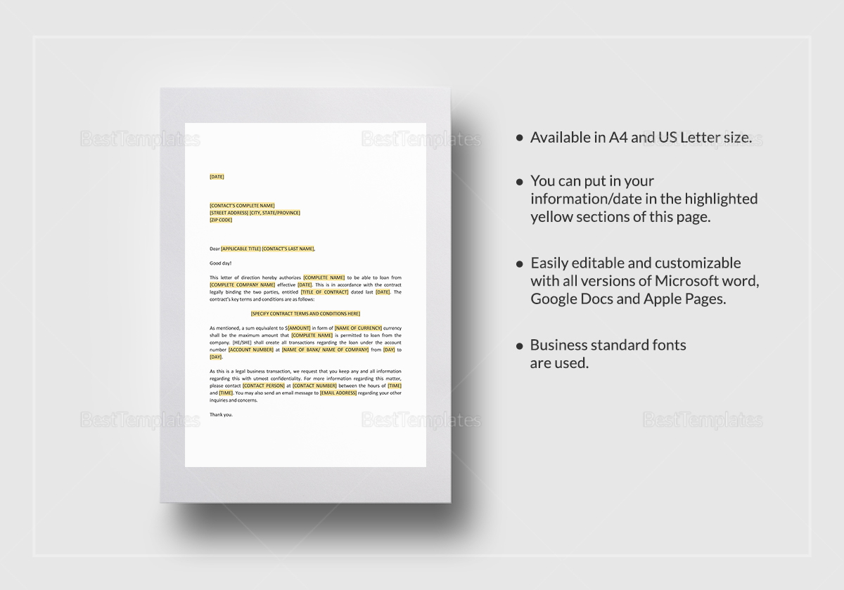Letter Of Direction Payment Of Acquisition Price Template In Word Docs Apple Pages