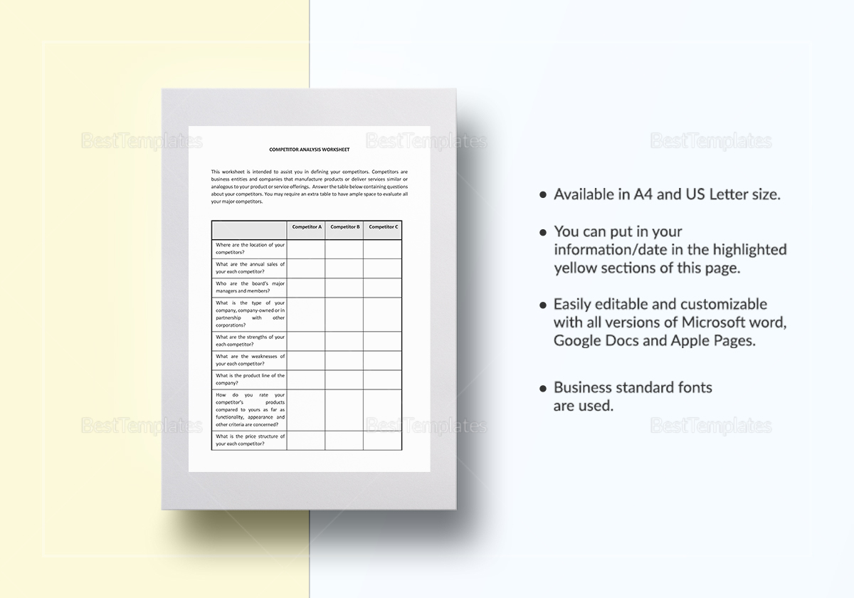 Worksheet Competitorysis Template In Word