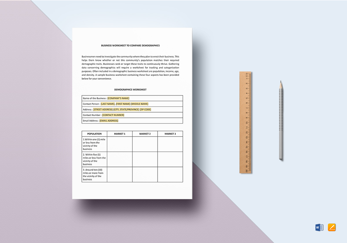 Worksheet Demographic Comparison Template In Word Docs Apple Pages