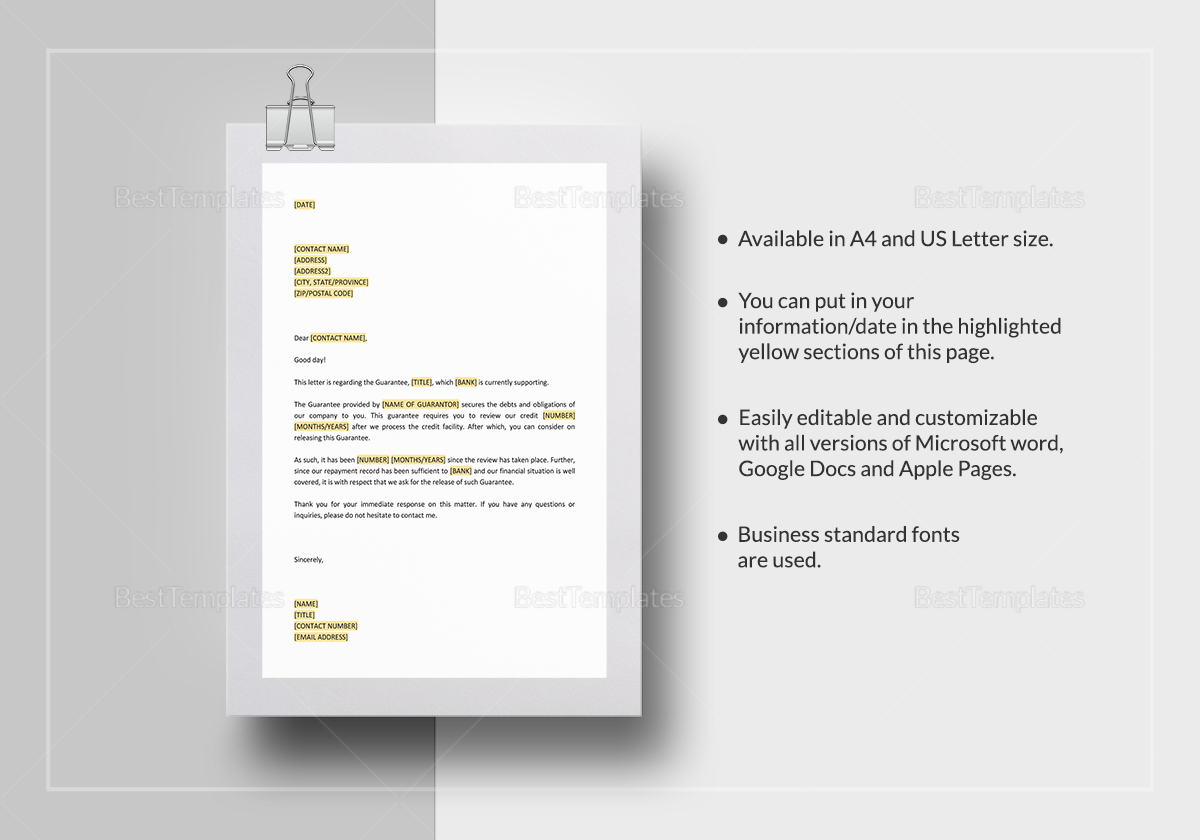 Request Release Of Personal Guarantee Template In Word Docs Apple Page
