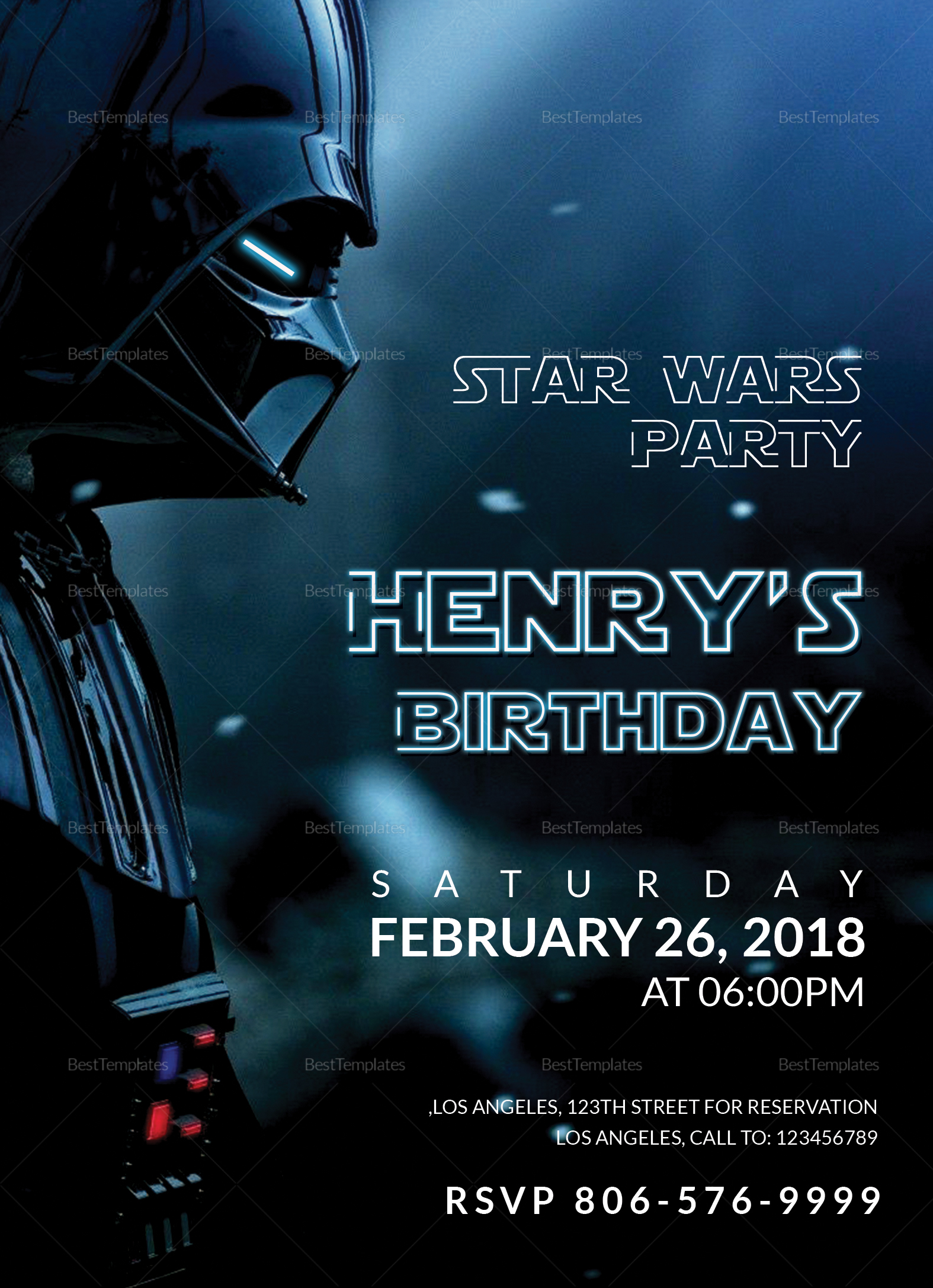 Star Wars Birthday Party Invitation Design Template In Word Psd Publisher