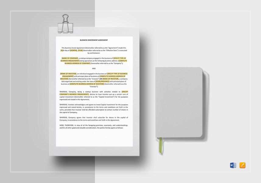 Business Investment Agreement Template in Word  Google Docs  Apple Pages Business Investment Agreement Template
