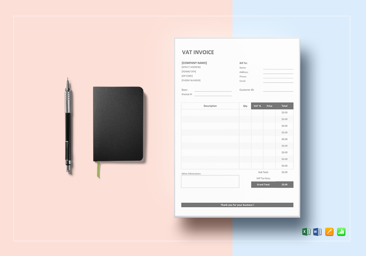 VAT Invoice Template in Word  Excel  Apple Pages  Numbers VAT Invoice Template