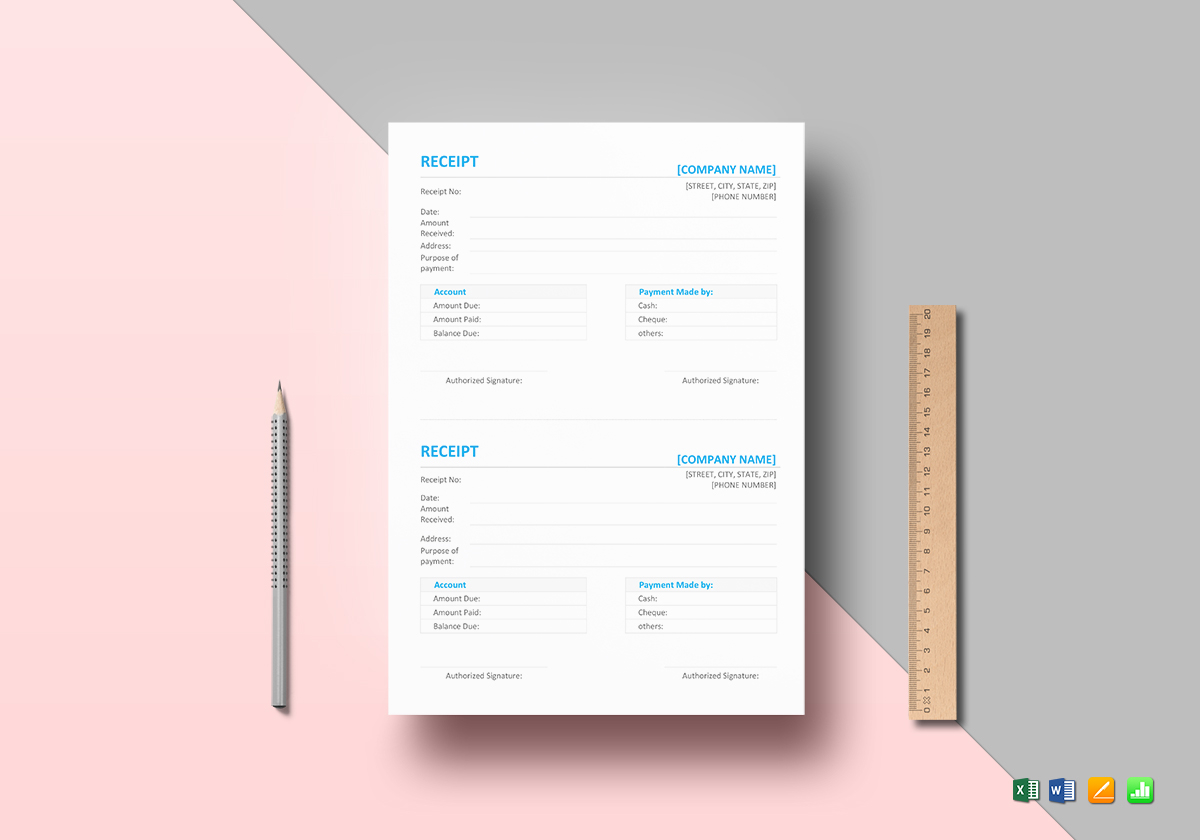 Simple Receipt Template in Word  Excel  Apple Pages  Numbers Simple Receipt Template