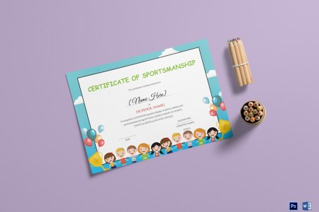 Kids Sportsmanship Certificate Design Template in PSD  Word Kids Sportsmanship Certificate Template