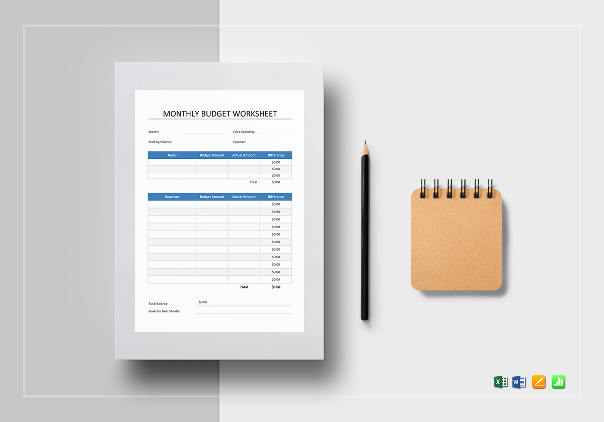 Monthly Budget Worksheet Template In Word Excel Apple