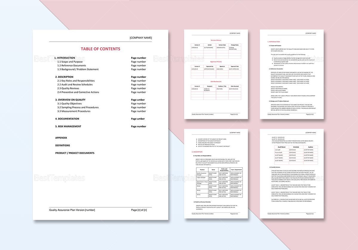 Quality Assurance Plan Template In Word Docs Apple Pages