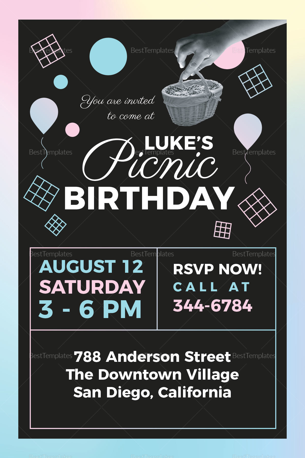picnic birthday party invitation design