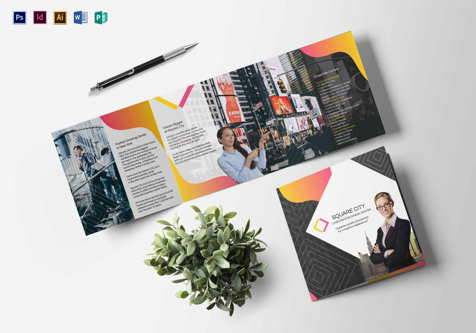 Square Business Brochure Design Template In Psd Word