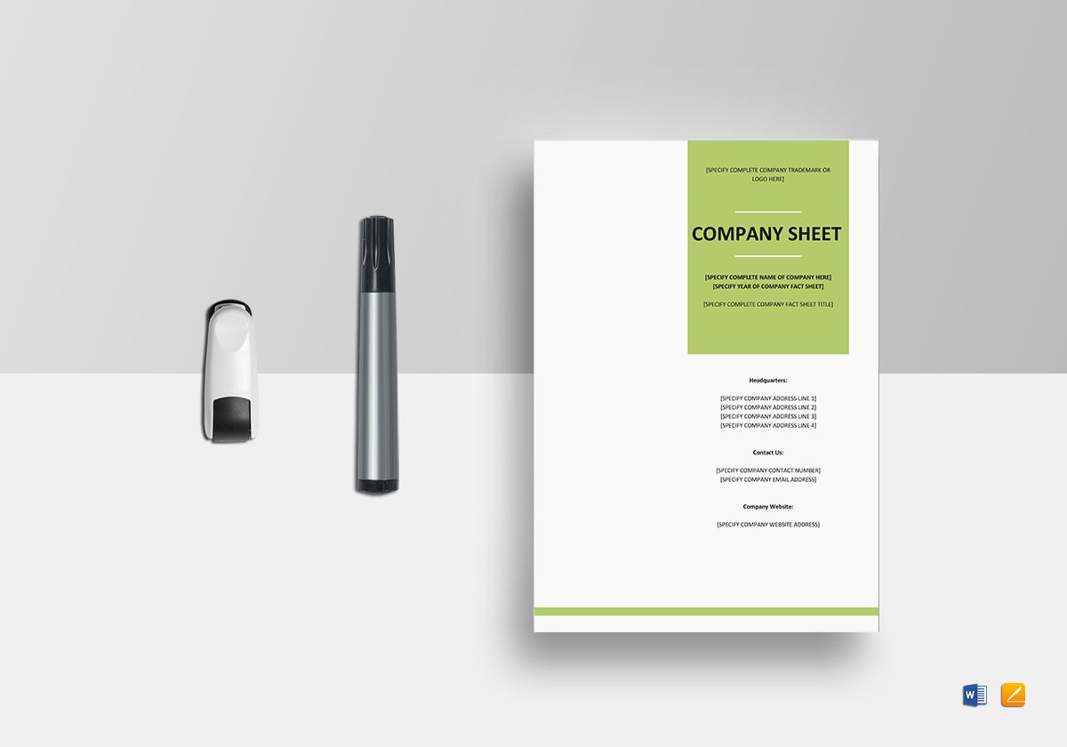 Company Fact Sheet Template in Word  Google Docs  Apple Pages Company Fact Sheet Template