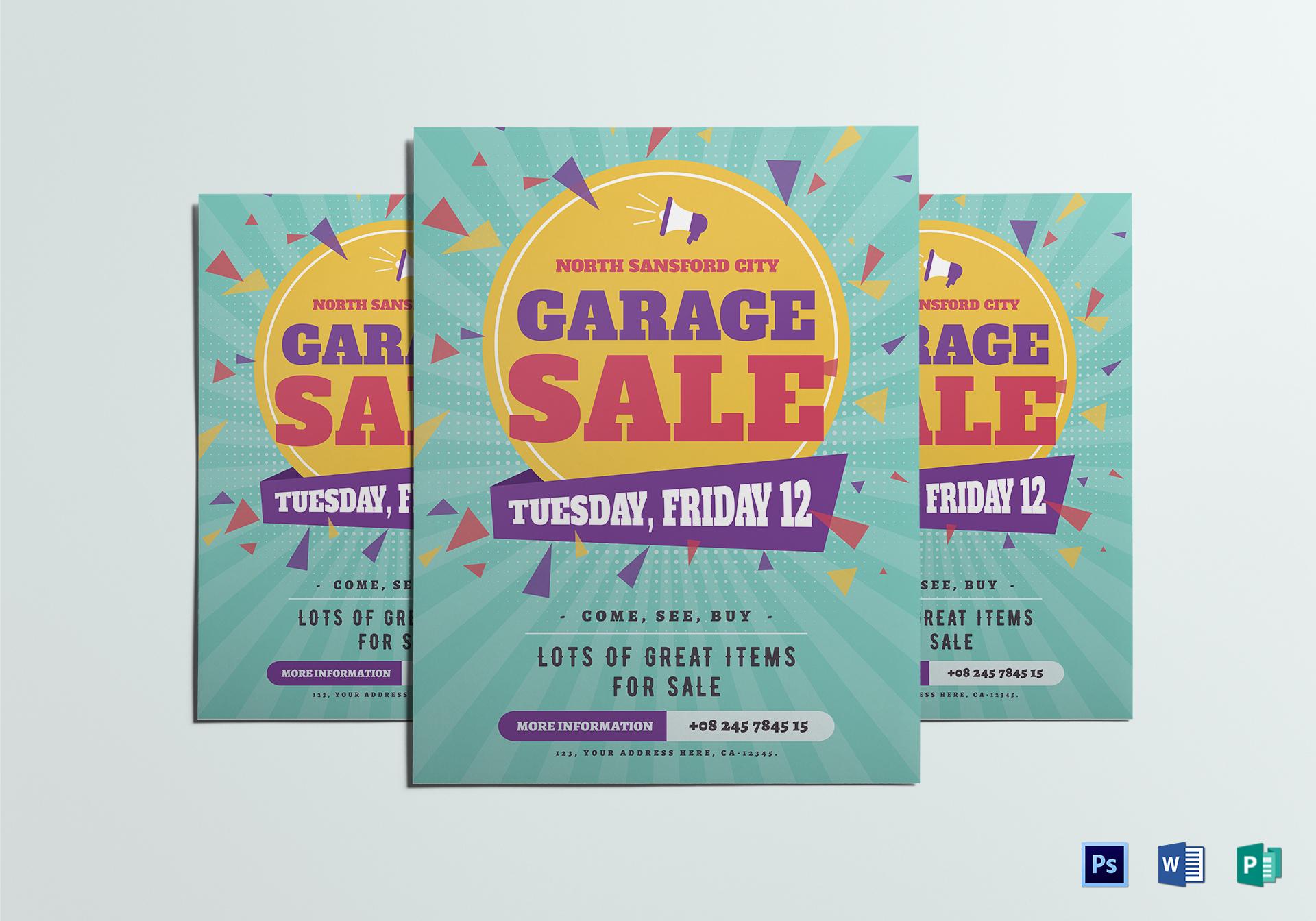 Large Garage Sale Flyer Design Template In Psd Word
