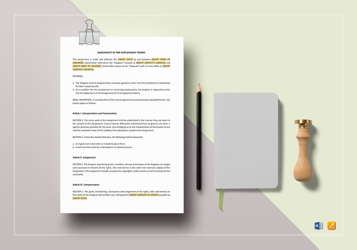 Assignment Of Pre Employment Works Template In Word Apple