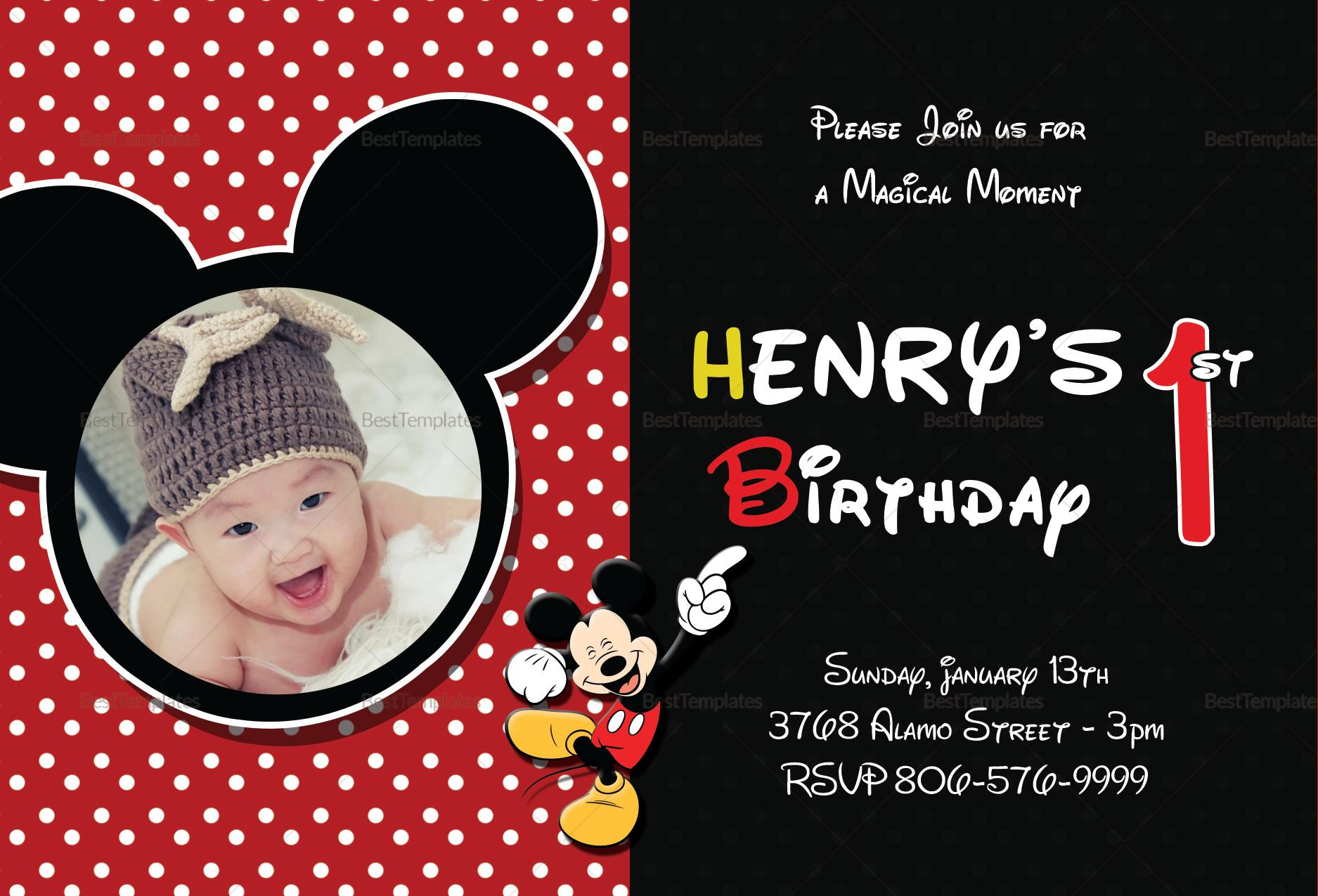 mickey mouse birthday invitation card
