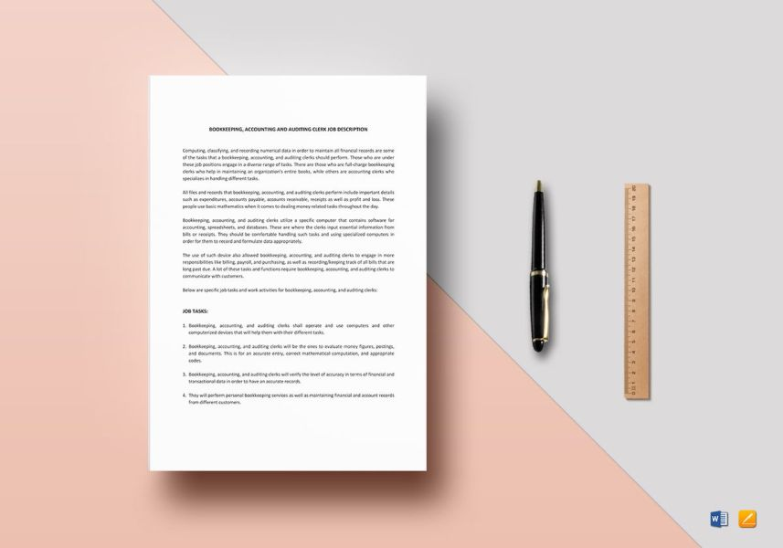 Bookkeeping  Accounting and Auditing Clerk Job Description Template