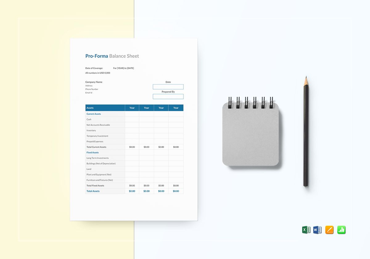 Proforma Balance Sheet Template In Word Excel Apple