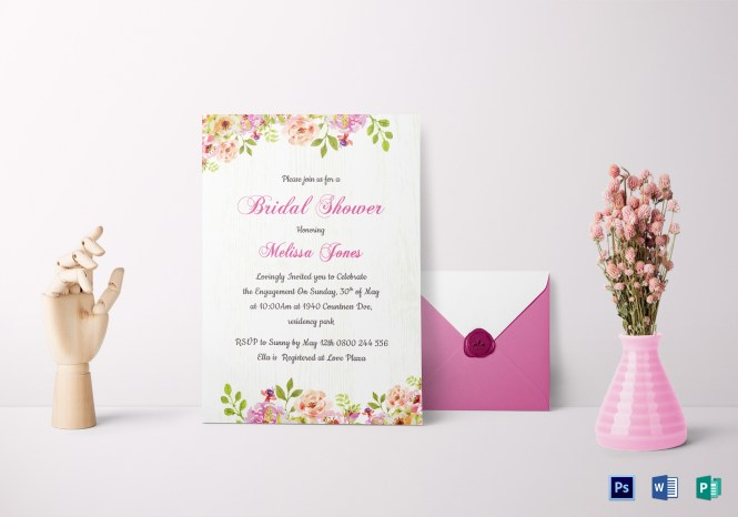 Fl Bridal Shower Invitation Card Template