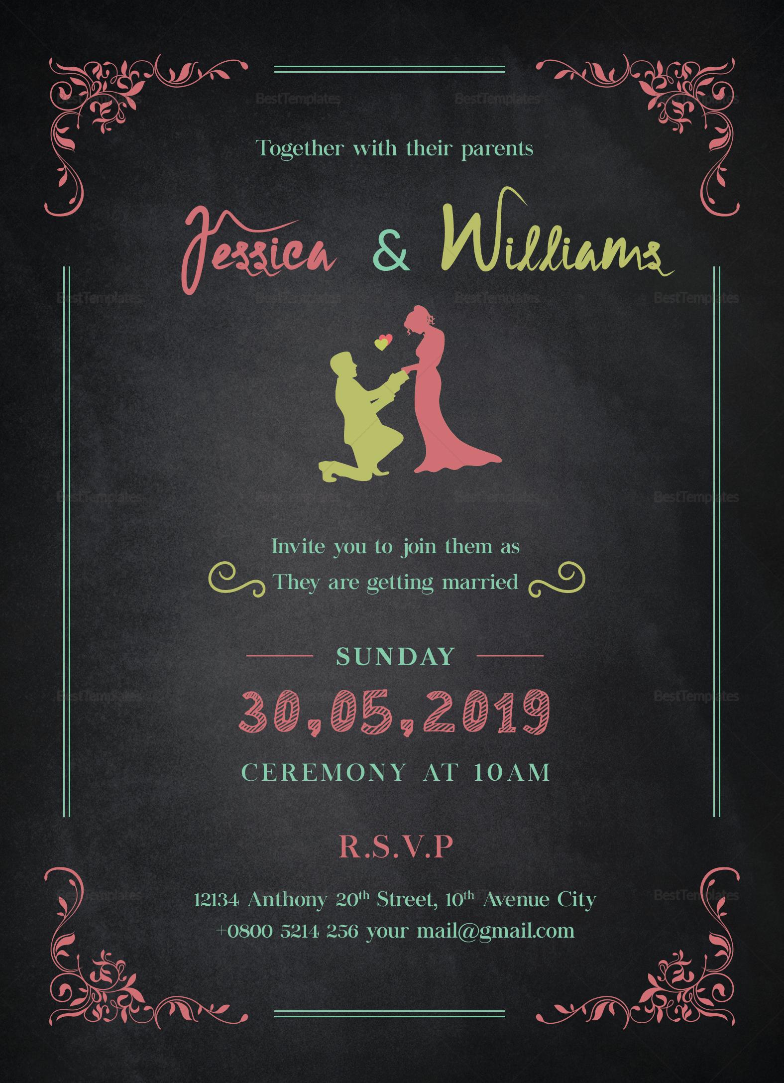 Chalkboard Wedding Invitation Design Template In Word PSD Publisher