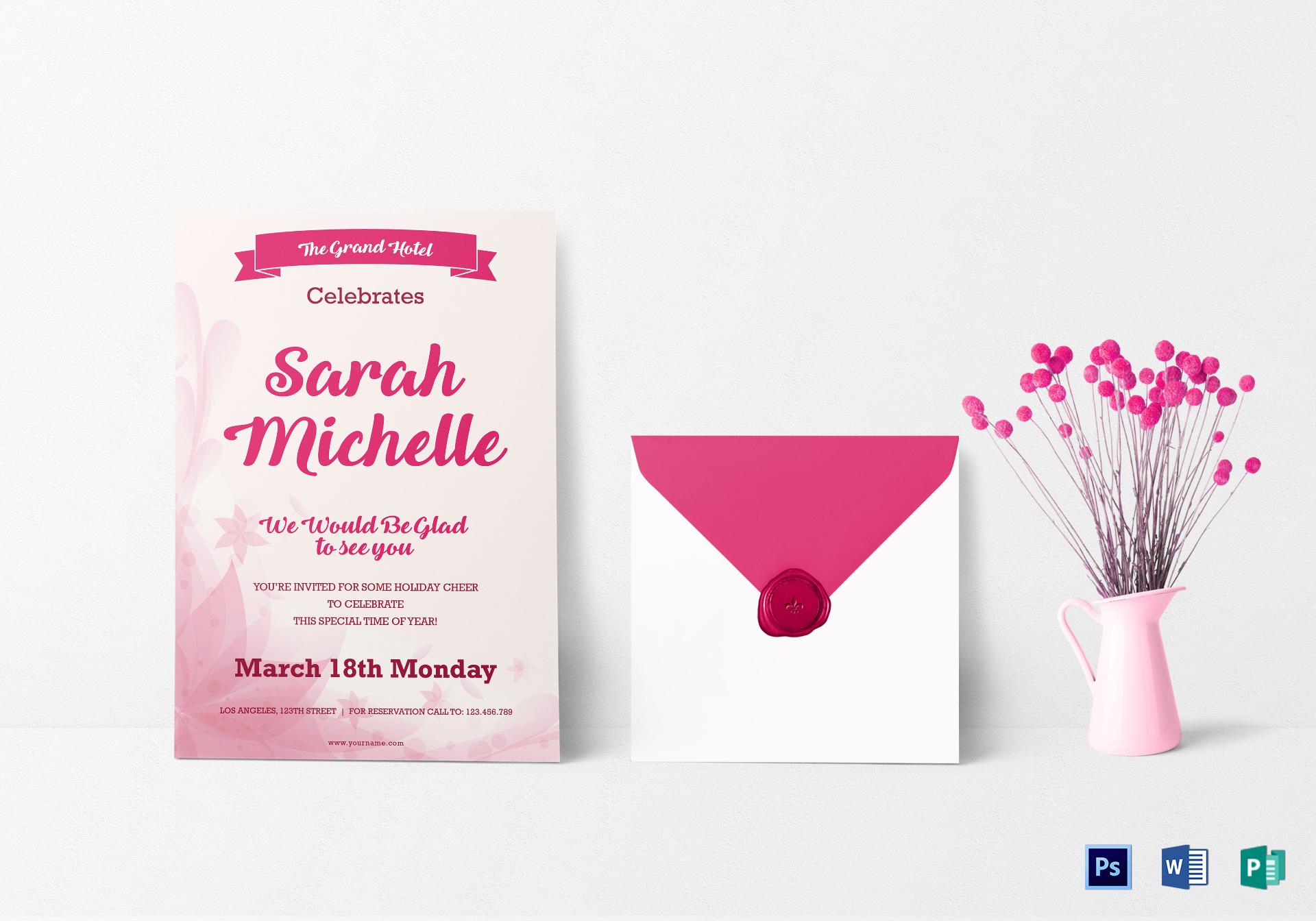 elegant debut invitation card design
