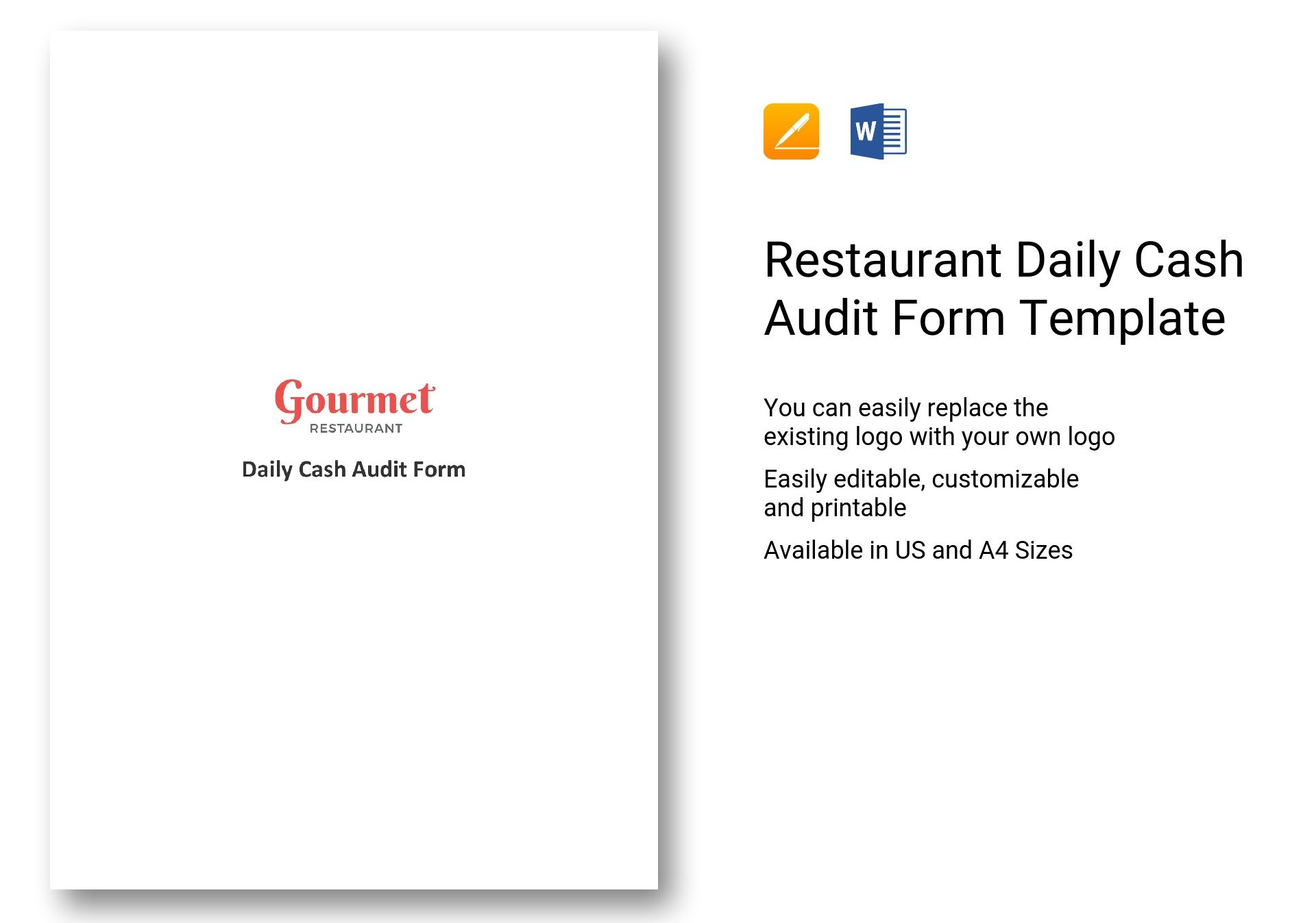 Restaurant Daily Cash Audit Form Template In Word Apple Pages