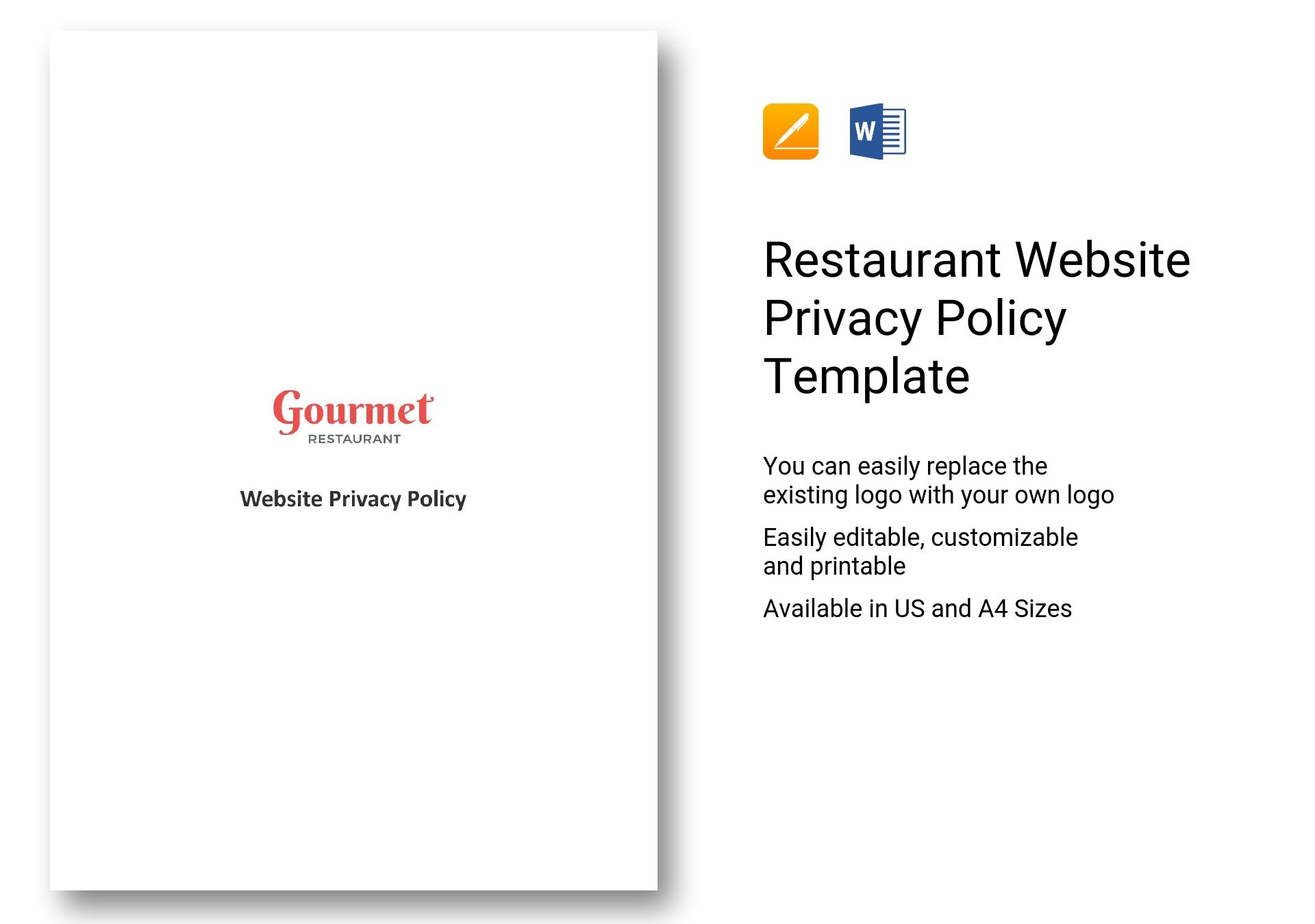 Restaurant Website Privacy Policy Template In Ms Word Pages