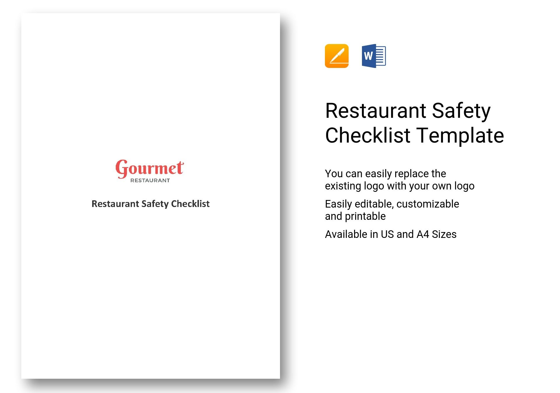 Restaurant Safety Checklist Template In Ms Word Pages