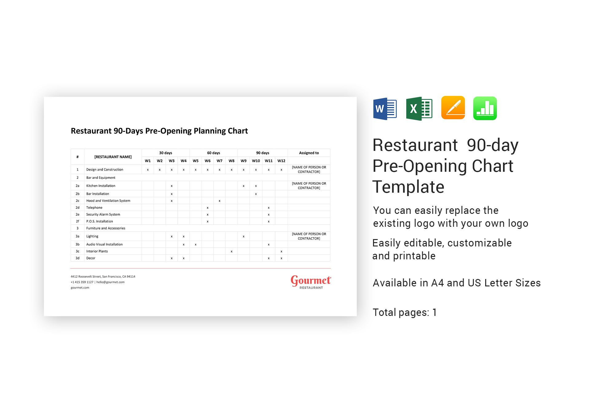 Restaurant 90 Day Pre Opening Chart Template In Word