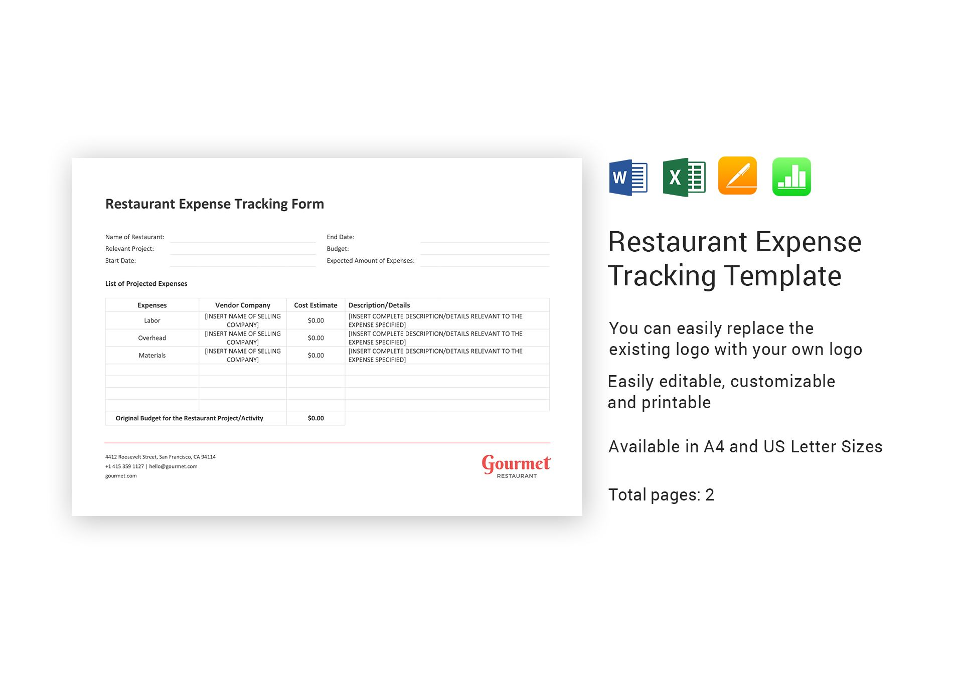 Restaurant Expense Tracking Template In Word Excel Apple