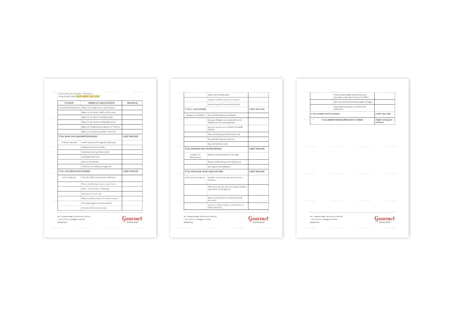 Restaurant Expense Statement Template In Word Apple Pages