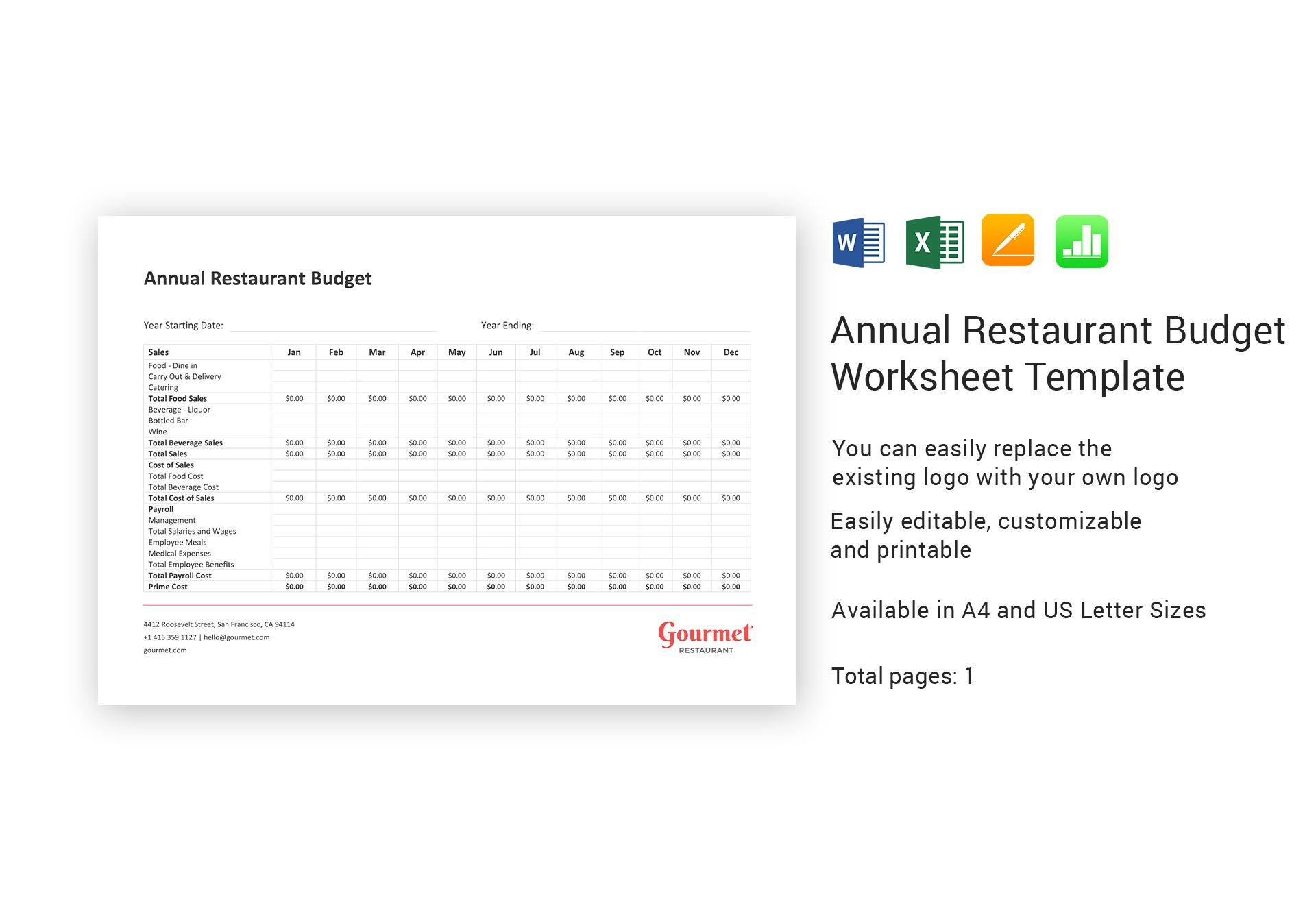 Annual Restaurant Budget Worksheet Template In Word Excel