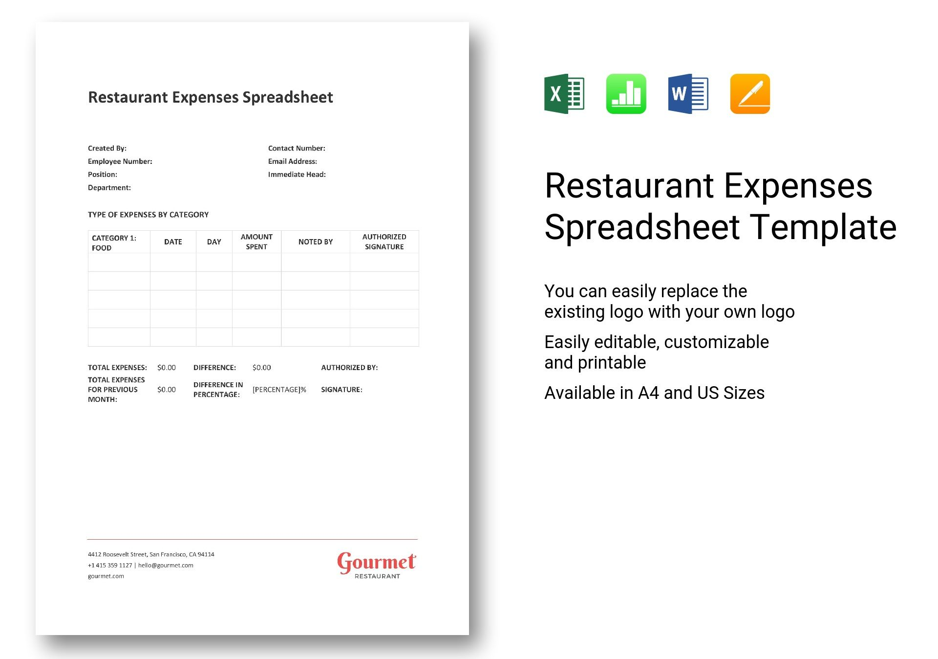 Restaurant Expenses Spreadsheet Template In Word Excel