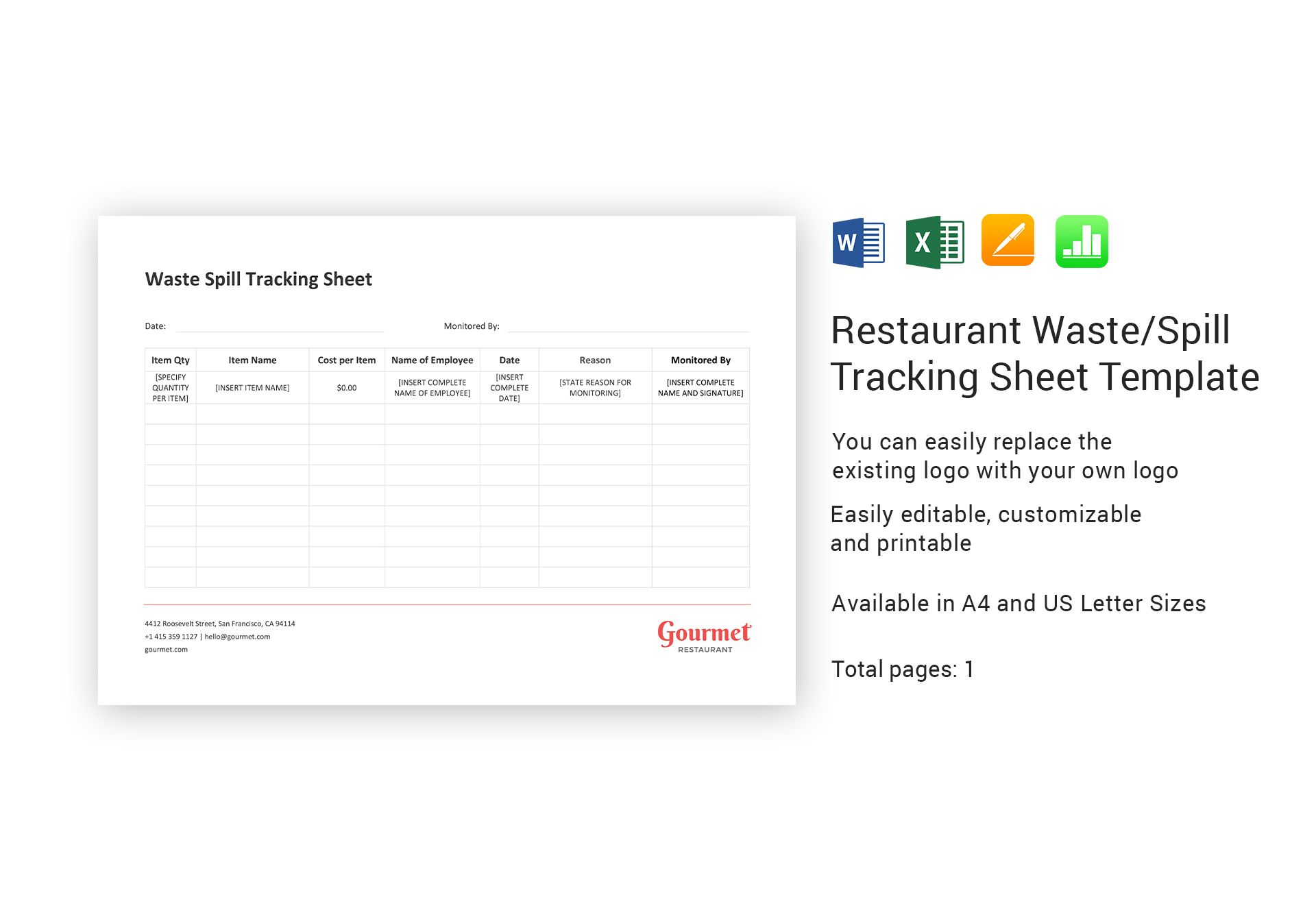 Restaurant Waste Spill Tracking Sheet Template In Word