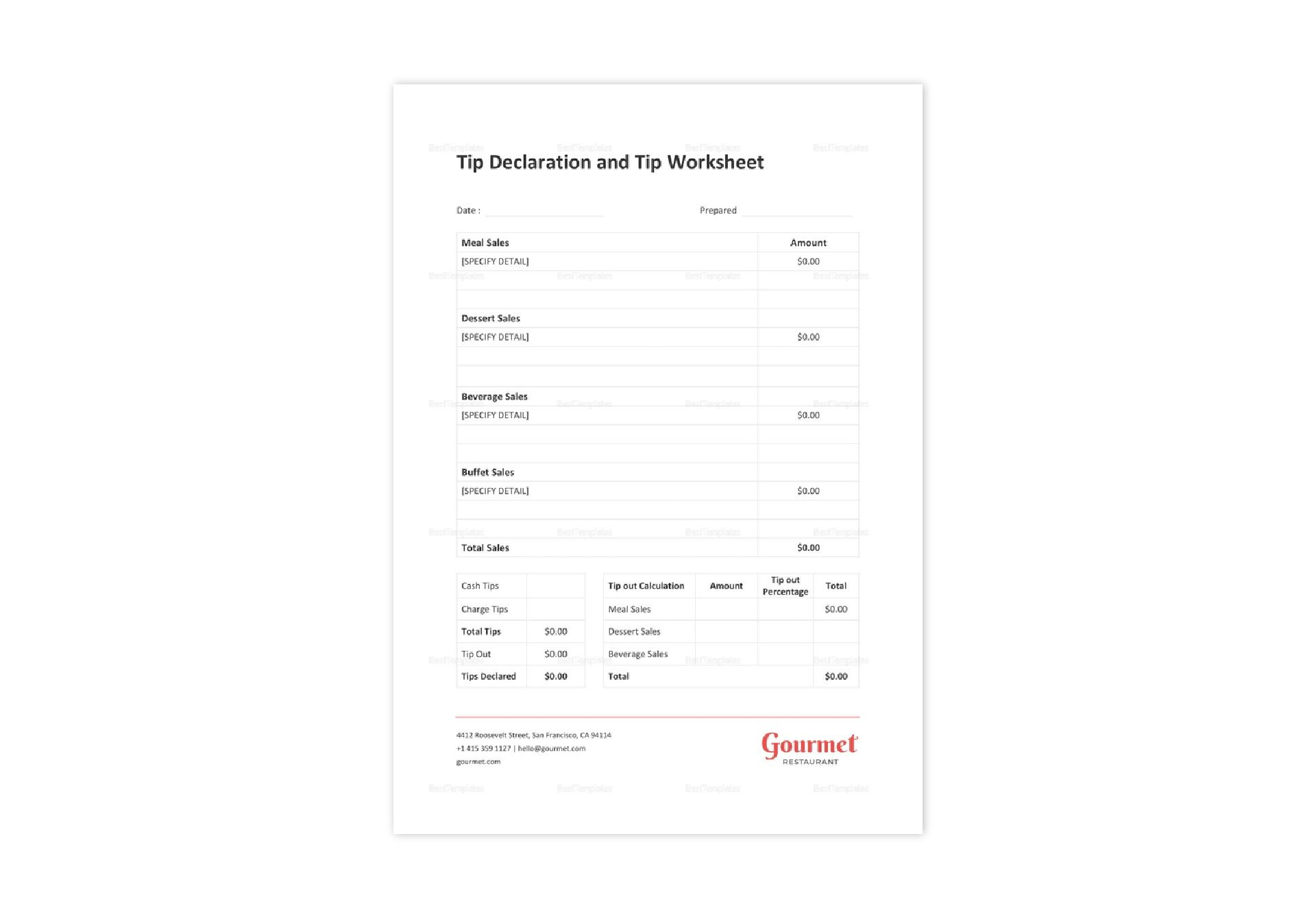 Restaurant Tip Declaration And Tipout Worksheet Template