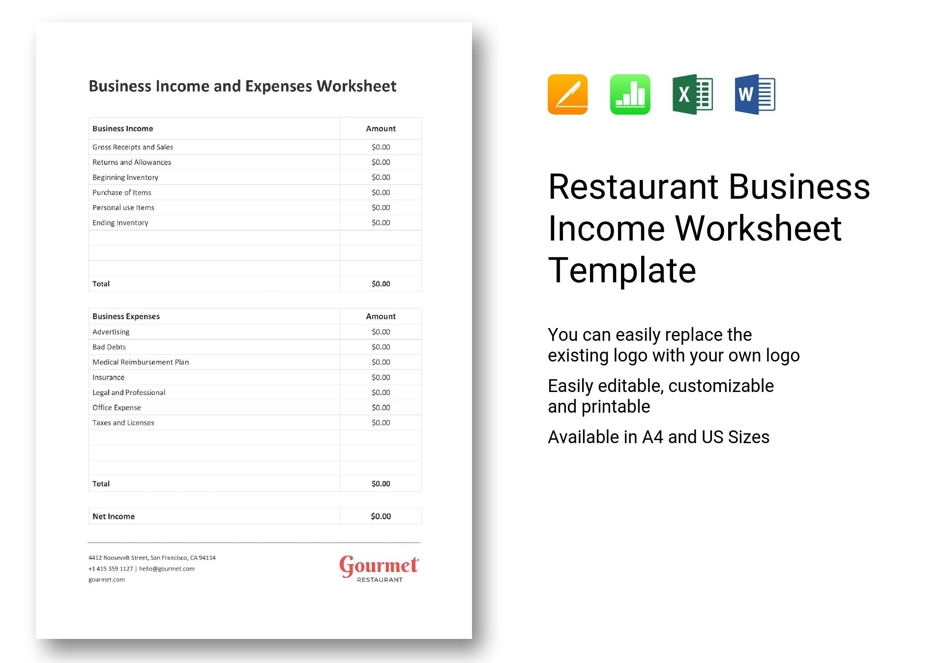 Restaurant Business Income Worksheet Template In Word Excel Apple Pages Numbers
