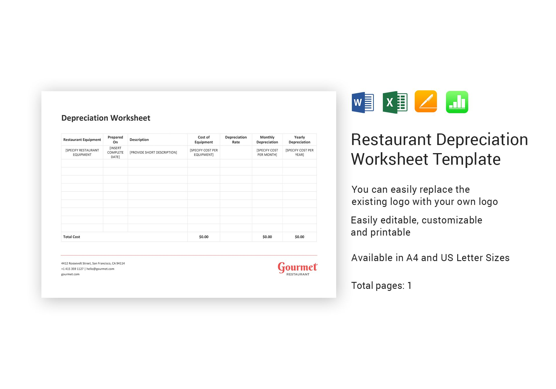 Restaurant Depreciation Worksheet Template In Word Excel