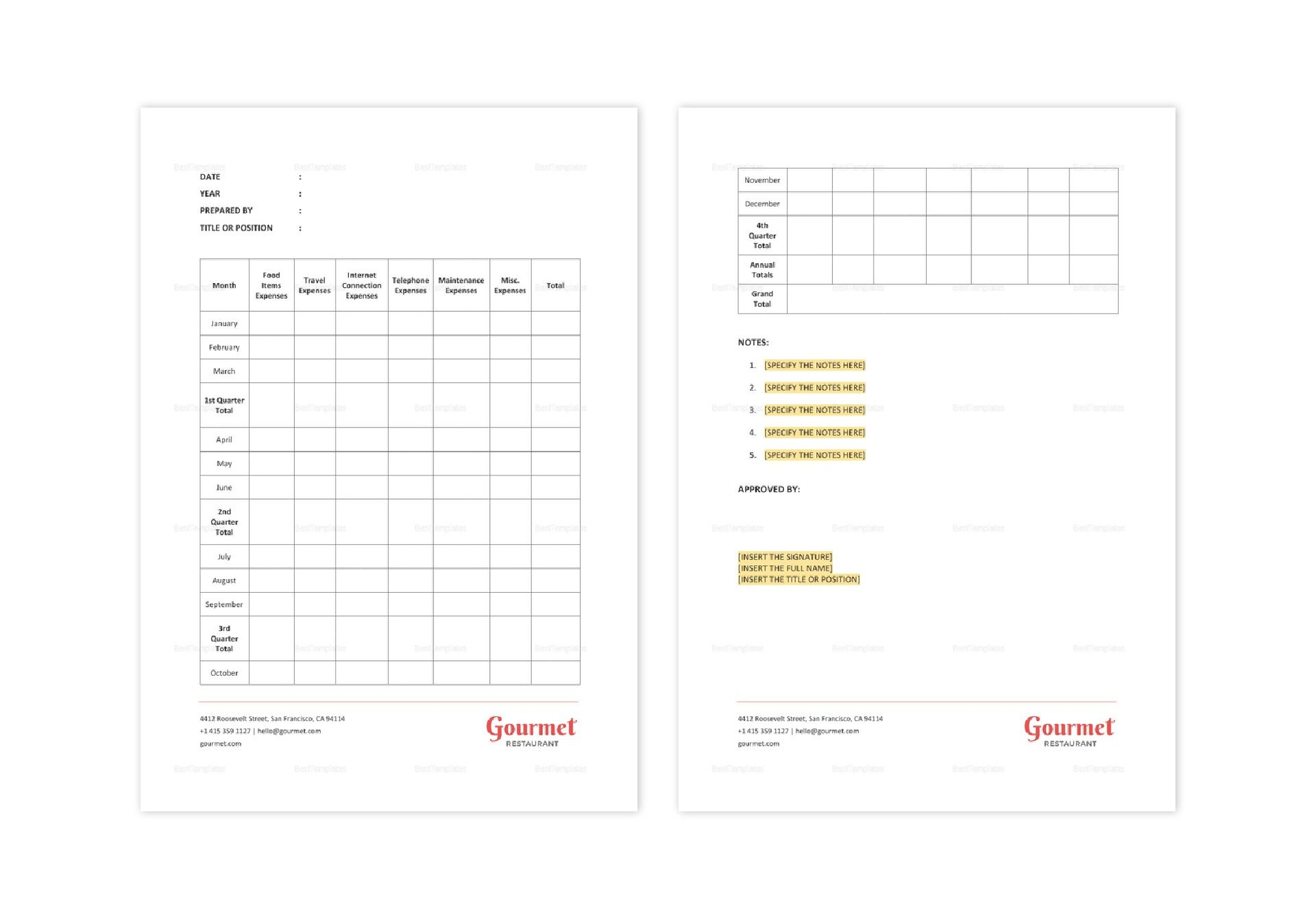 Restaurant Annual Expense Report Template In Word Apple Pages