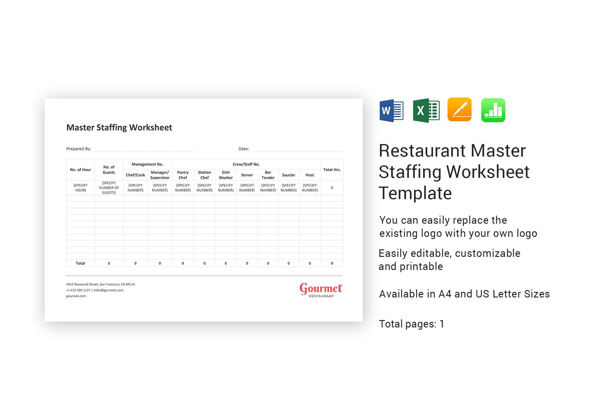Restaurant Master Staffing Worksheet Template In Word