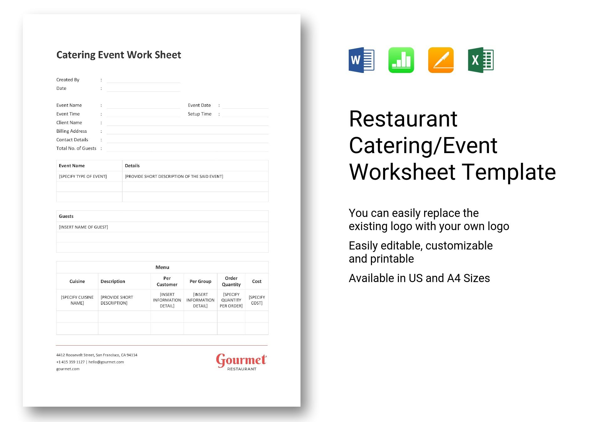 Restaurant Catering Event Worksheet Template In Word Excel Apple Pages Numbers