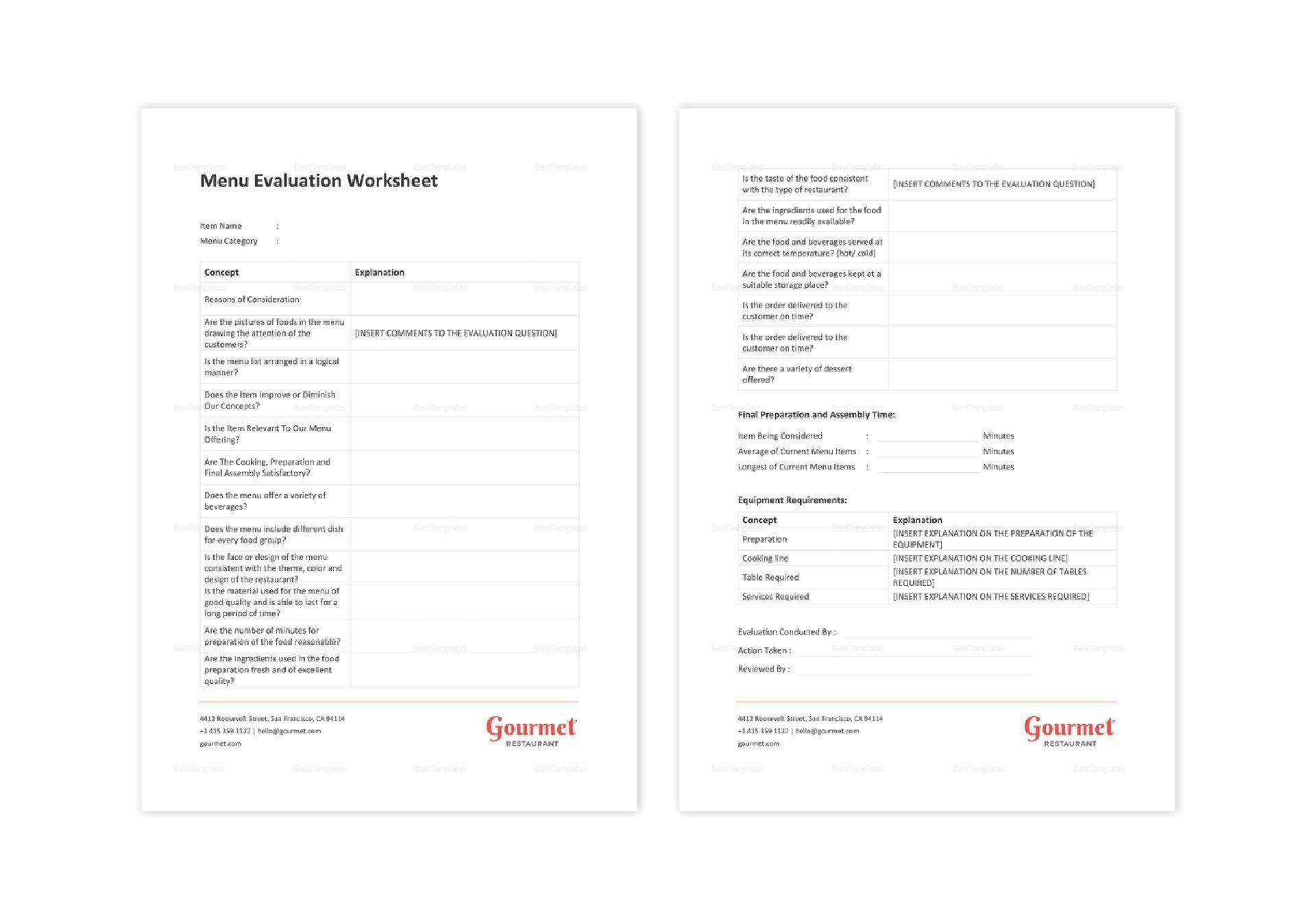 Restaurant Menu Evaluation Worksheet Template In Word