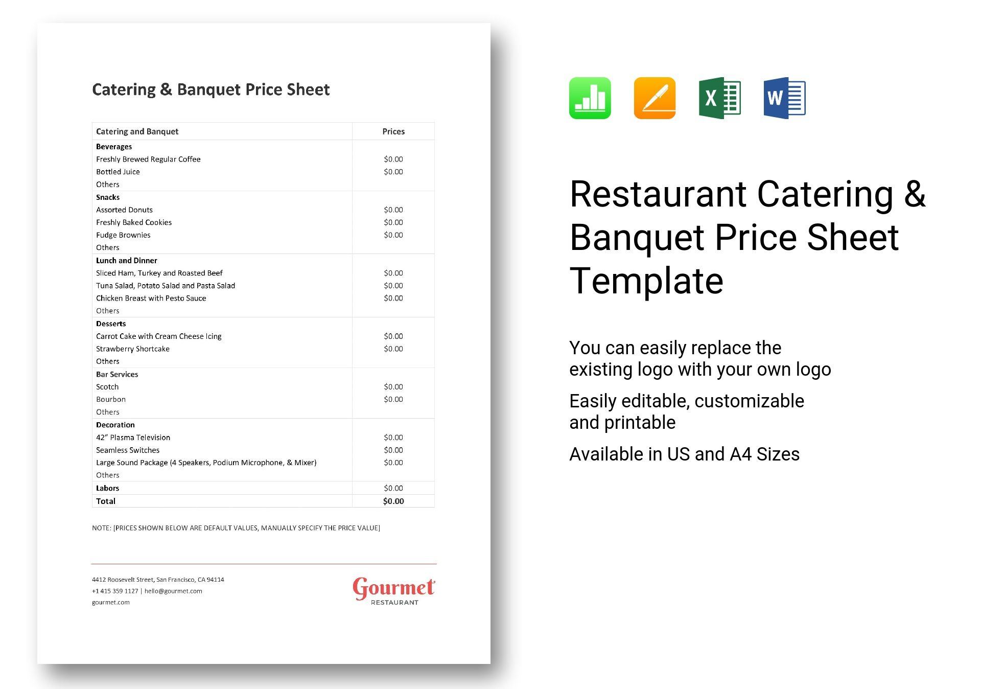 Restaurant Catering Amp Banquet Price Sheet Template In Word