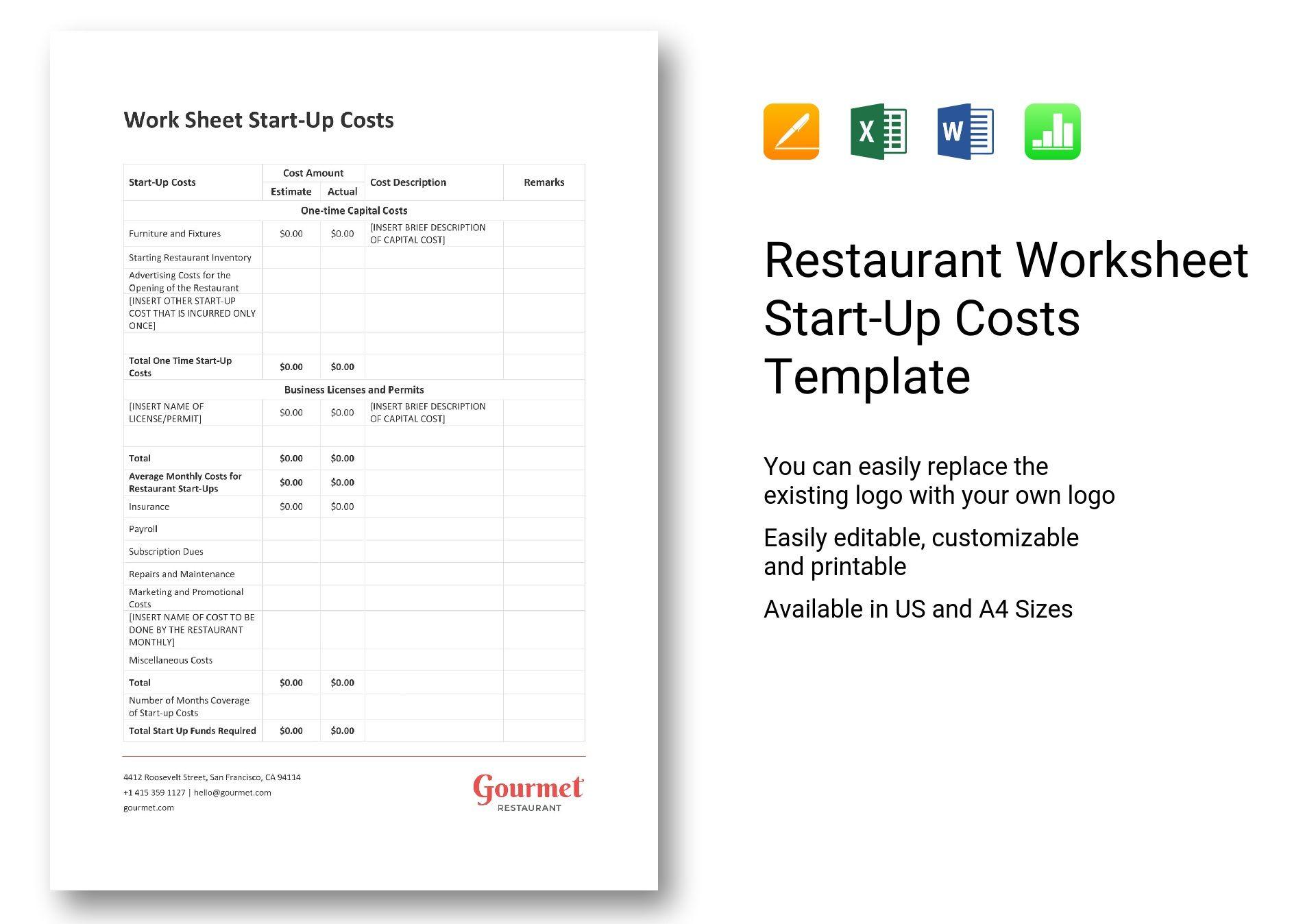 Restaurant Worksheet Start Up Costs Template In Word