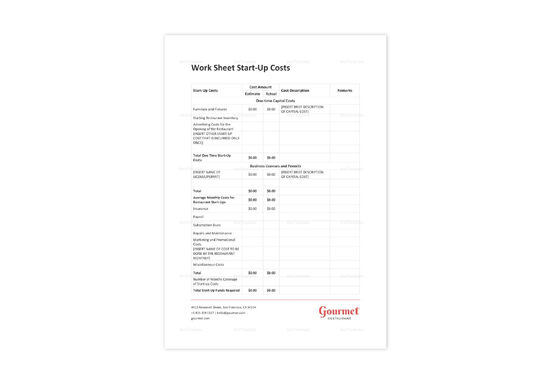 Restaurant Worksheet Start Up Costs Template In Word Excel Apple Pages Numbers