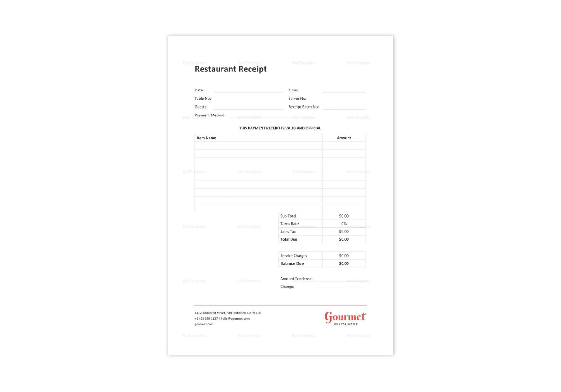 Sample Restaurant Receipt Template In Word Excel Apple