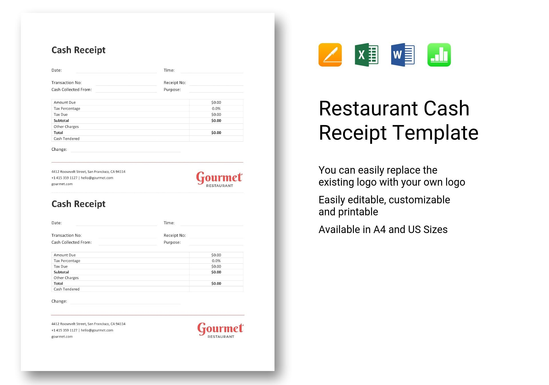 Restaurant Cash Receipt Template In Word Excel Apple